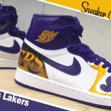 スニーカーカスタムペイント NBA Lakers Air Jordan 1